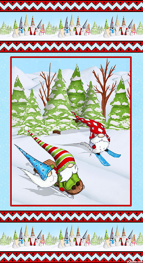 """Gnoming Through the Snow - Ski Trip - 24"""" x 44"""" PANEL"""