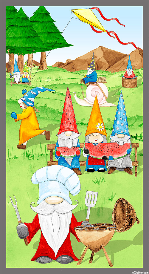 """Hanging With My Gnomies - Summer BBQ - 24"""" x 44"""" PANEL"""