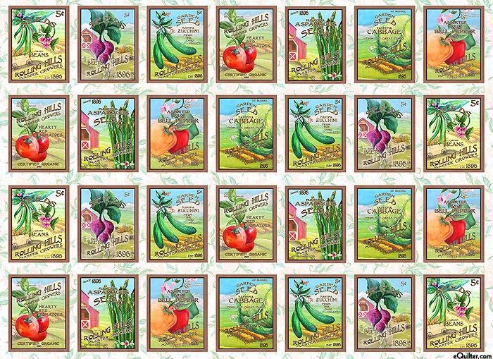"Blissful Bounty - Seed Blocks - 32"" x 44"" PANEL - DIGITAL"