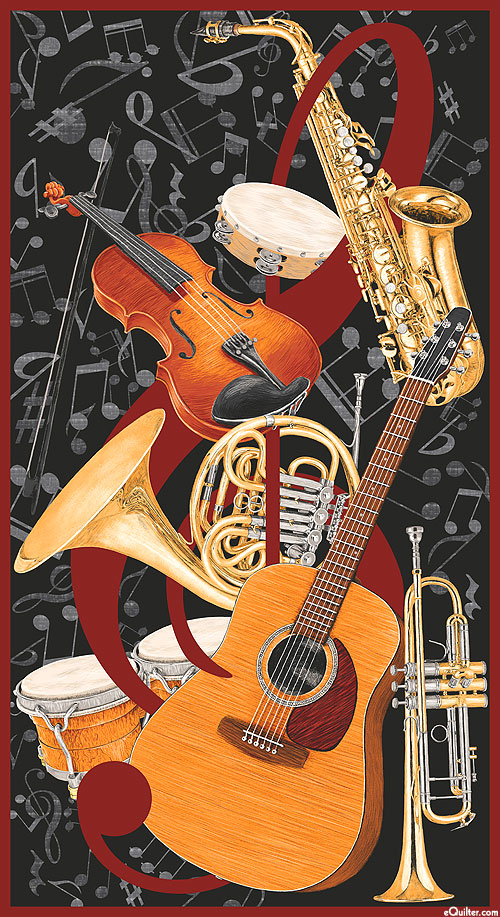 "Let the Music Play - Treble Tunes - Black - 24"" x 44"" PANEL"