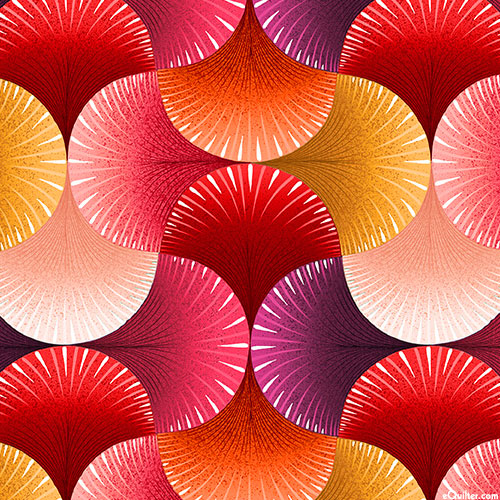 """Lutece - Fanned Out - Ruby Red - DIGITAL - 108"""" QUILT BACKING"""