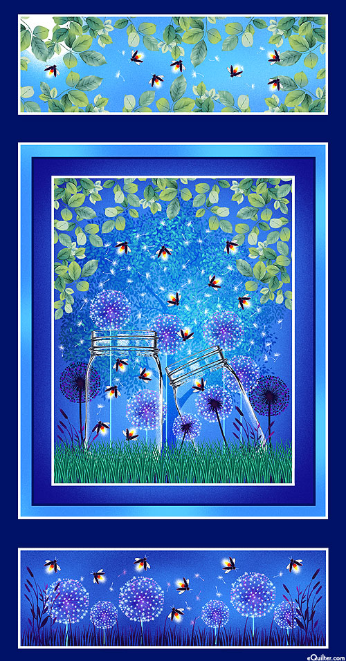 "Let Your Light Shine - Fireflies - Navy/Glow - 24"" x 44"" PANEL"