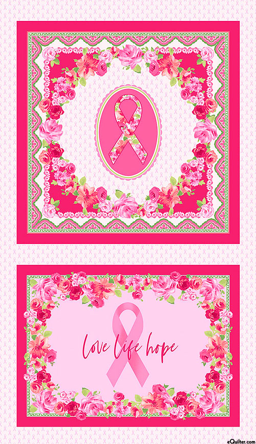 "Love Pink - Ribbons & Roses - 24"" x 44"" Panel"