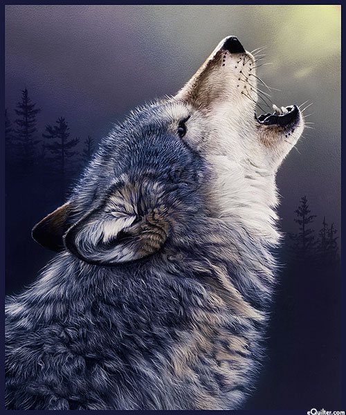 """One of a Kind - Wolf Howling - 35"""" x 44"""" PANEL"""