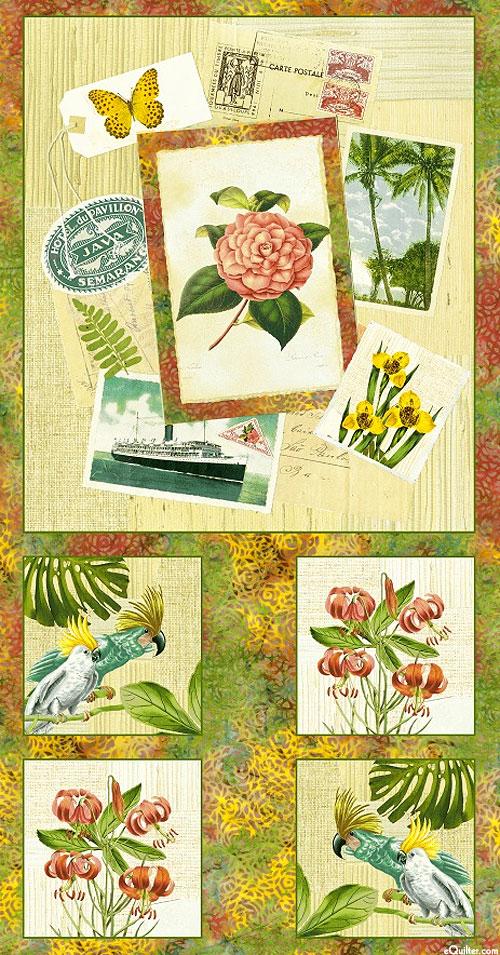 "Paradise - Island Oasis Postcards - Beige - 24"" x 44"" PANEL"