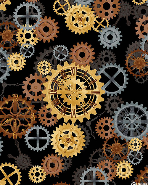 """Quilt Back - Turning Gears - Black- 108"""" QUILT BACKING"""