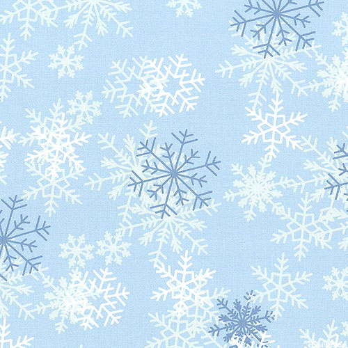"Blizzard of Snowflakes - Powder Blue - 108"" QUILT BACKING"