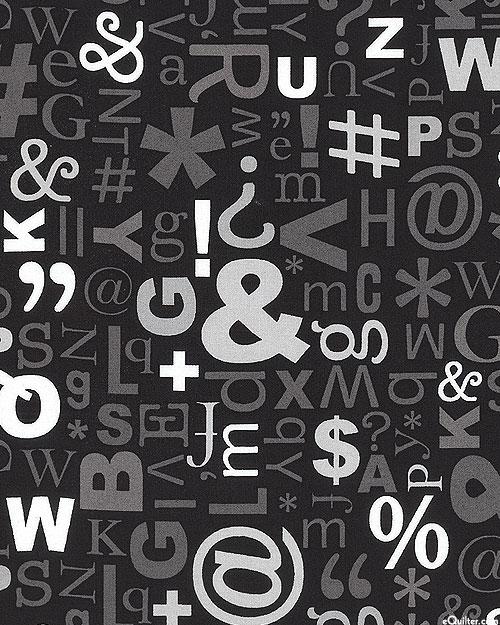 """Text Symbols Fonts - Black - 108"""" QUILT BACKING"""