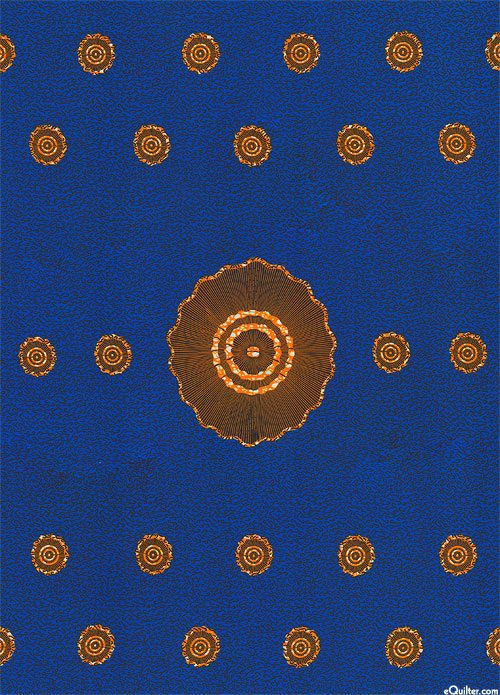 "African Import - Lilly Pad Pond - Royal Blue - 32"" x 44"" PANEL"