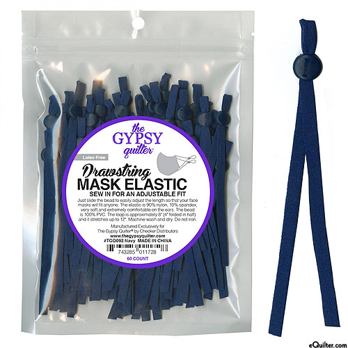 Adjustable Drawstring Mask Elastic - Navy Blue