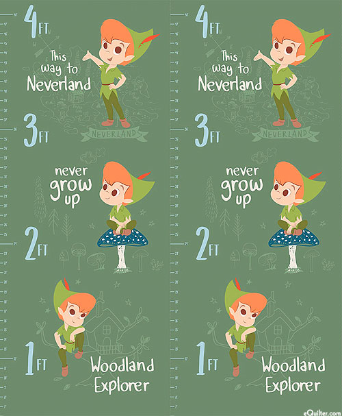 "Peter Pan - Growth Chart - Olive Green - 36"" x 44"" PANEL"