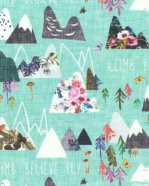 Forest Glade - Snow Capped - Deep Aqua - DIGITAL PRINT
