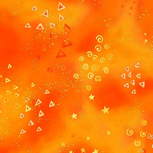 Laurel Burch Basics - Glitter & Starlight - Persimmon/Gold