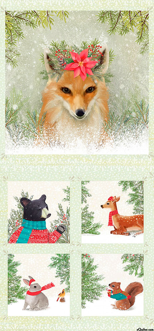 """Enchanted Woodland - Forest Fox Queen - Multi - 24"""" x 44"""" PANEL"""