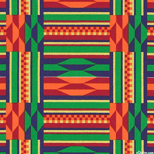 African Prints - Kente Grid - Kelly Green/Gold