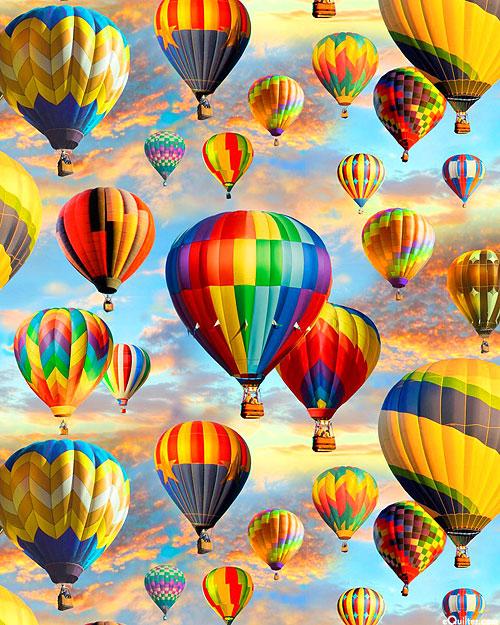 Hot Air Balloons Allover - Morning Flight - Sky Blue