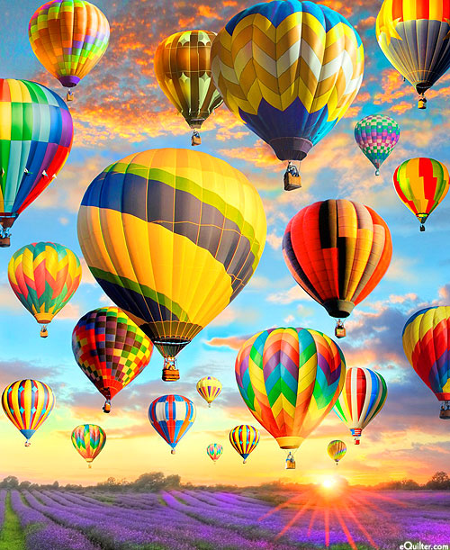 "Hot Air Balloons - Lavender Sunrise - Sky Blue - 36"" x 44"" PANEL"