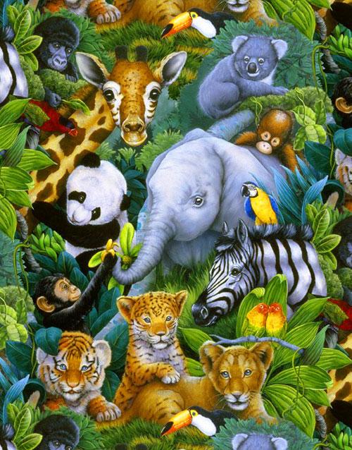 Rare Occasion - Baby Zoo Animals - Jungle Green
