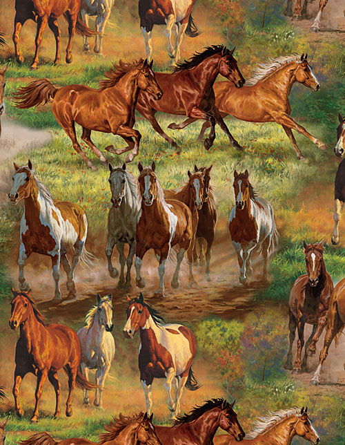 Animal Reign - Horses in the Meadow - Green - DIGITAL PRINT