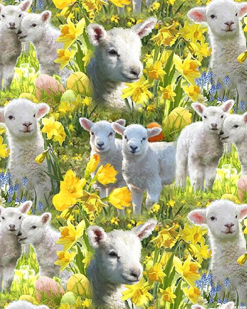 Easter Lambs - Daffodils & Lambs - Leaf Green