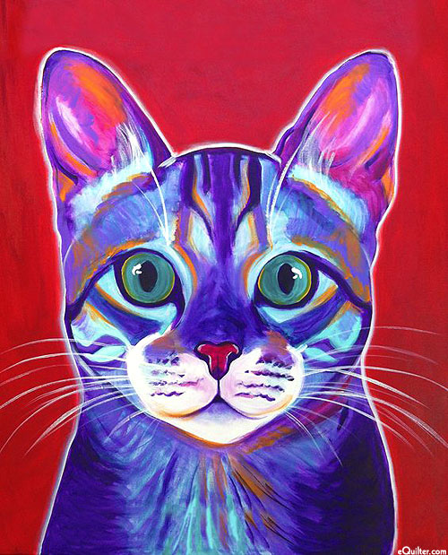 """Cat Abstract Portrait - Red - 36"""" x 44"""" PANEL - DIGITAL PRINT"""