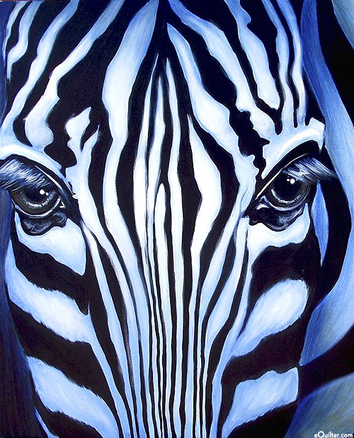 "Zebra Portrait - Black - 36"" x 44"" PANEL - DIGITAL PRINT"