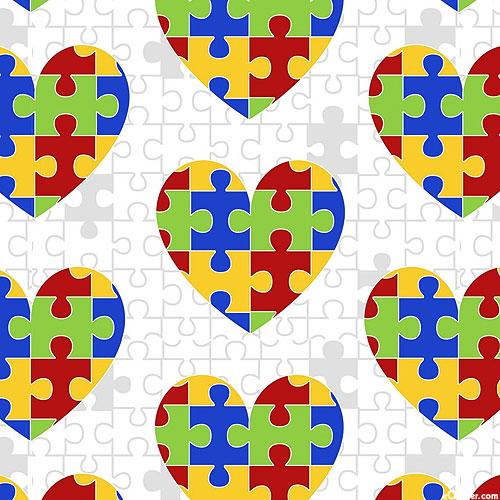 Autism Awareness - Puzzle Hearts - White - DIGITAL PRINT
