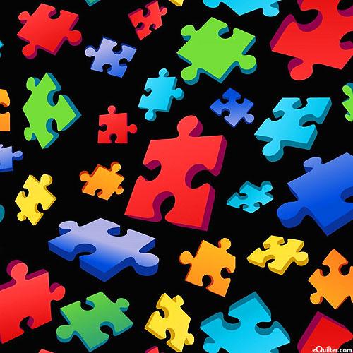 Autism Awareness - Puzzle Toss 3D - Black - DIGITAL PRINT