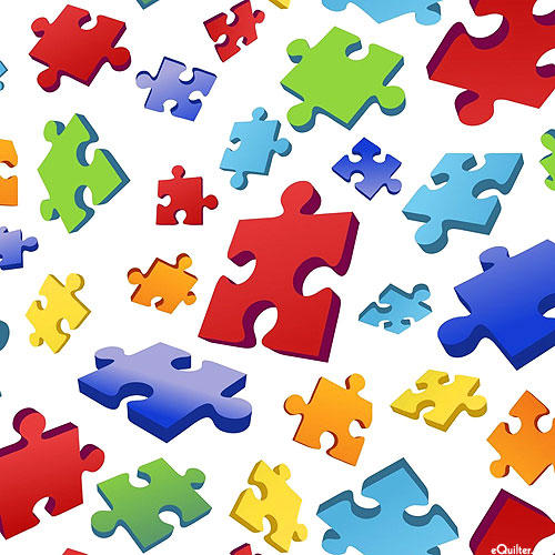 Autism Awareness - Puzzle Toss 3D - White - DIGITAL PRINT