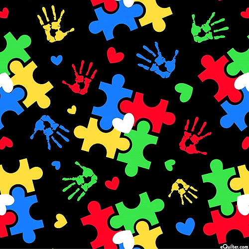 Autism Awareness - Puzzle Toss & Hearts - Black - DIGITAL PRINT