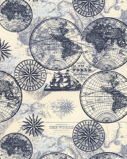 Ocean Maps - Sail Around the World - Ivory