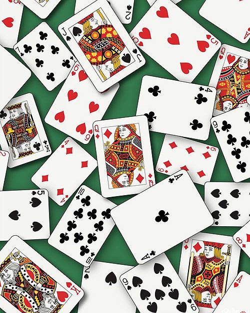 Casino Fun - Playing Cards - Hunter Green - DIGITAL PRINT