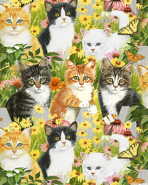 Animal Love - Kittens & Daisies - Grass Green