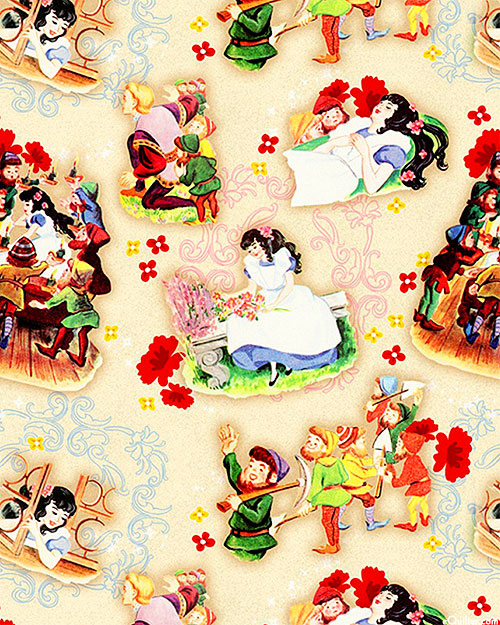 Vintage Storybooks - Snow White Characters - Cream - DIGITAL