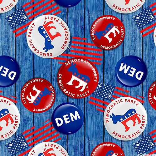 Democrat Buttons - Cadet Blue - DIGITAL PRINT