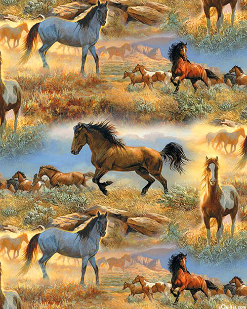 Horses in the Prairie - Rocky Roamers - Sage Green