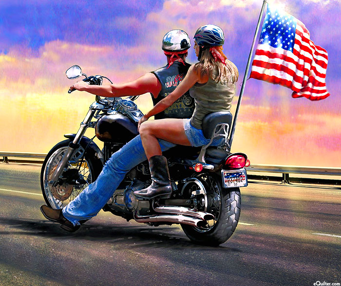 "Motorcycles - Easy Riders - Sunset - 36"" x 44"" PANEL - DIGITAL"