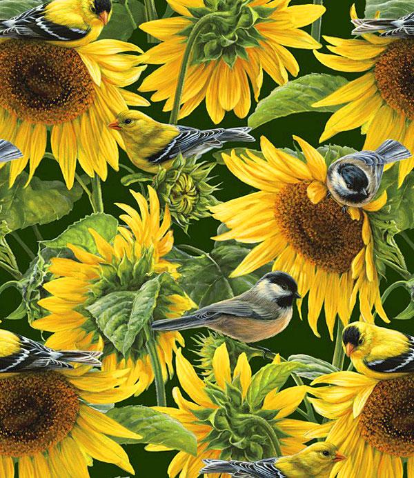 Farm Life - Sunflowers & Birds - Pine Green