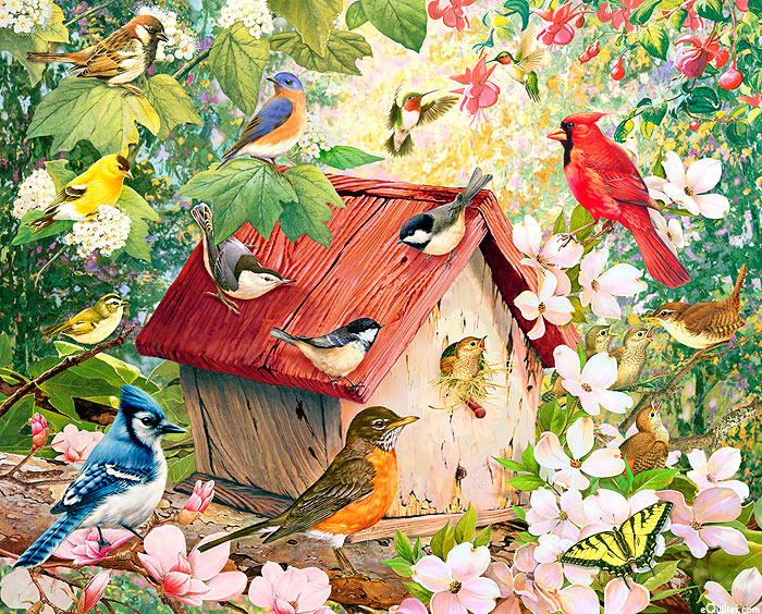 "Beauty In Nature - Birdhouse - Multi - 36"" x 44"" PANEL - DIGITAL"