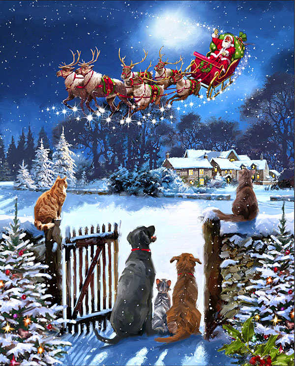 """Watching Santa's Arrival - Night of the Year - 36"""" x 44"""" PANEL"""