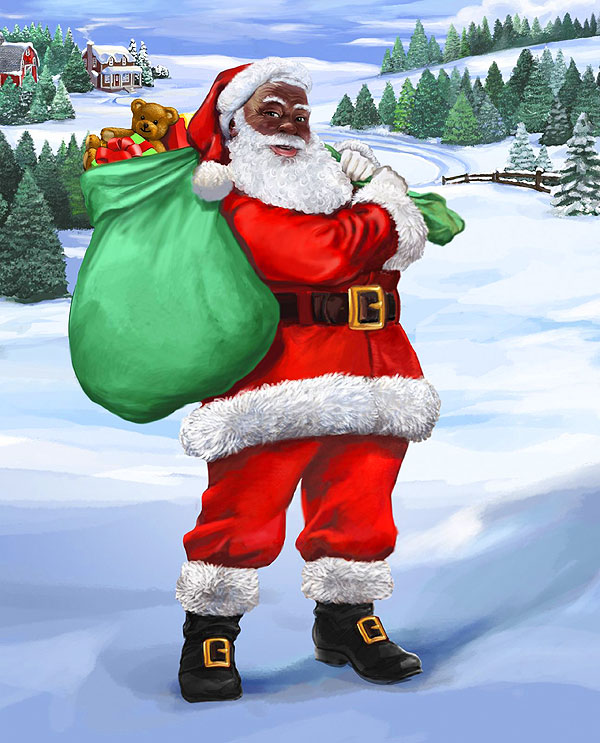 "Beloved Black Santa - 36"" x 44"" PANEL - DIGITAL PRINT"