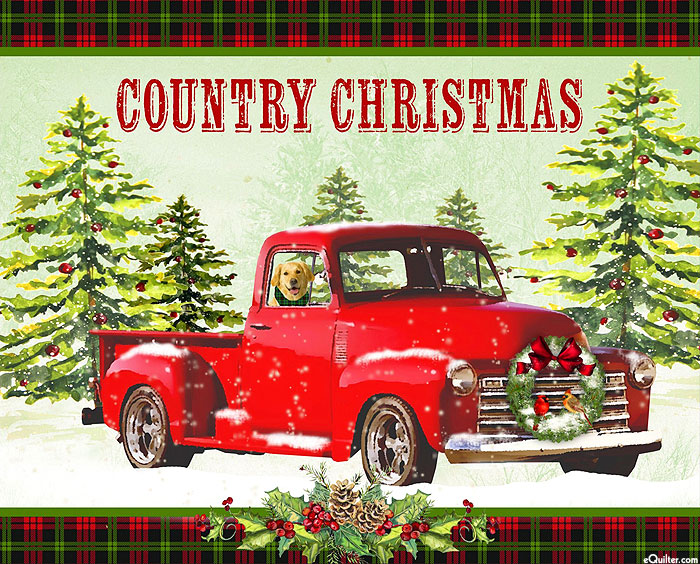 """Country Christmas - Pickup Truck Holiday - 36"""" x 44"""" PANEL"""
