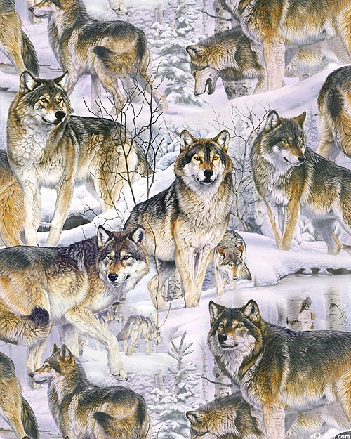 Animal Love - Wolves in the Snow - Fog Gray