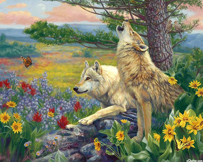 "Wolves in the Spring - Morning Howl - 36"" x 44"" PANEL - DIGITAL"