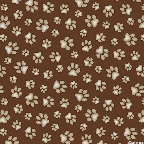 Adorable Pets - Paw Print Mischief - Chocolate Brown