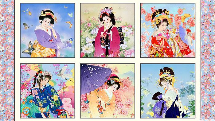 """Geiko - Spring Blossoms & Geisha - Cream/Gold - 24"""" x 44"""" PANEL"""