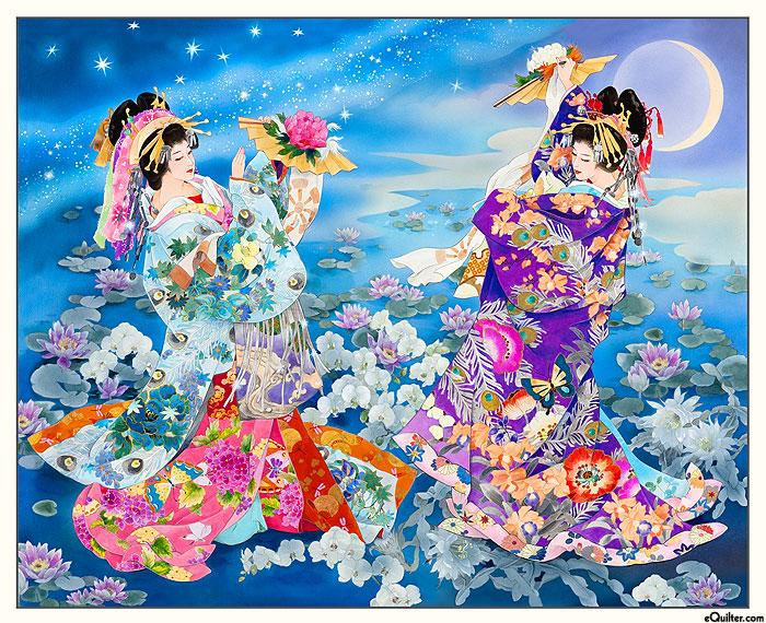 "Geiko - Moonlit Garden Geisha - Blue/Gold - 36"" x 44"" PANEL"