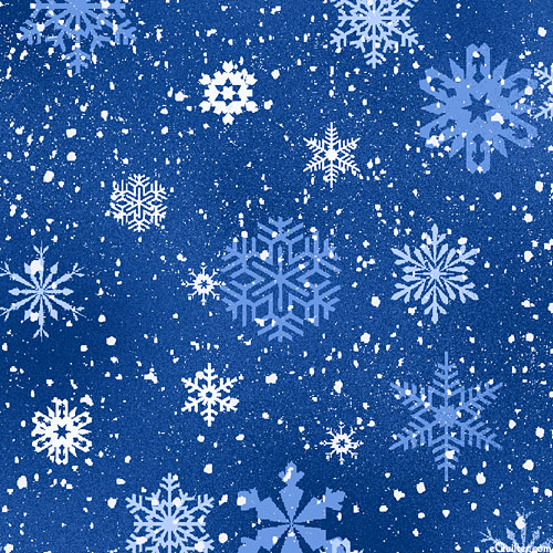 Landscape Medley - Frozen Frosty Snowflakes - Delft Blue