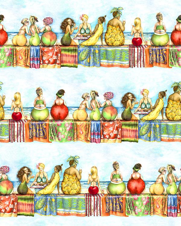 "Fruit Ladies - Beach Lounge Stripes - Aqua - 24"" x 44"" PANEL"