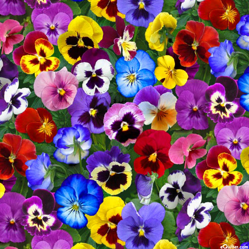 Equilter Lovely Pansies Flower Bed Gems Multi